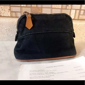 Auth. Hermes Black Denim Bolide Cosmetic Bag